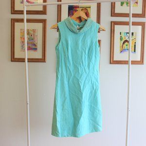 1960s Mod Turquoise Blue Dress XS